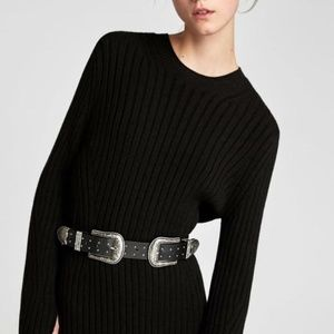 ZARA Double Buckle Studded Belt